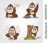 collection of monkey action set ... | Shutterstock .eps vector #444295519
