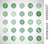 sphere icons set   isolated on... | Shutterstock .eps vector #444302227