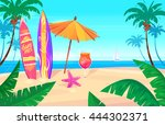 holidays by the sea. landscape... | Shutterstock .eps vector #444302371