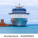 a blue and white luxury cruise... | Shutterstock . vector #444309601