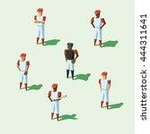 isometric baseball team players ...   Shutterstock .eps vector #444311641