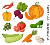 colorful vegetables icons set.... | Shutterstock .eps vector #444312259