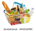 blue shopping basket filled... | Shutterstock . vector #444316984