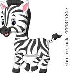 Stock vector cute zebra cartoon 444319357