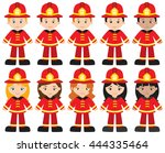 fire and rescue kids | Shutterstock .eps vector #444335464