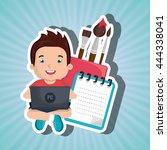children using laptop at school ...   Shutterstock .eps vector #444338041