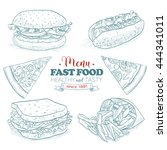 scetch fast food menu.  | Shutterstock . vector #444341011