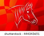 horse illustration icon art... | Shutterstock . vector #444343651