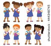 set boy and girl with backpacks ... | Shutterstock .eps vector #444348745