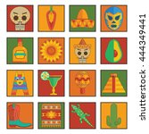 collection of bright mexican... | Shutterstock .eps vector #444349441