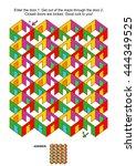maze game  enter the door 1....   Shutterstock .eps vector #444349525