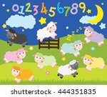 counting sheep   nursery | Shutterstock .eps vector #444351835