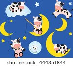 cow and the moon | Shutterstock .eps vector #444351844