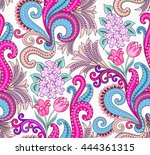 seamless pattern with lilac... | Shutterstock .eps vector #444361315