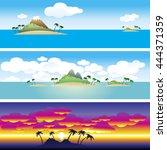 set of 3 borders. landscape.... | Shutterstock .eps vector #444371359