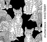 Stock vector high detail seamless pattern with pets in zentangle style adult coloring page with cats for 444378889