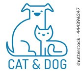 Stock vector vector flat logo with cat and dog 444396247