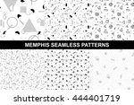 collection of memphis seamless... | Shutterstock .eps vector #444401719