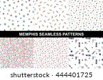 collection of abstract memphis... | Shutterstock .eps vector #444401725