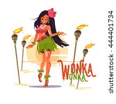 cute hula girl in hibiscus... | Shutterstock .eps vector #444401734