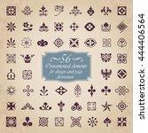 56 ornamental elements for... | Shutterstock .eps vector #444406564