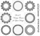 collection of 8 vintage classic ... | Shutterstock .eps vector #444419329