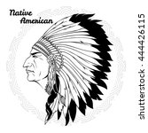 native american in profile... | Shutterstock .eps vector #444426115