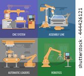 four square automated assembly... | Shutterstock .eps vector #444426121