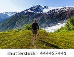 hiker in exit glacier  kenai... | Shutterstock . vector #444427441