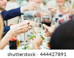 people hold in hands glasses... | Shutterstock . vector #444427891