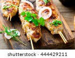 kebab from chicken.traditional ... | Shutterstock . vector #444429211