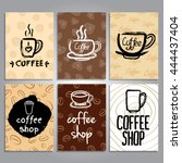 vector cards with coffee theme... | Shutterstock .eps vector #444437404