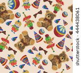seamless pattern with toys | Shutterstock . vector #444438061