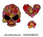 Flower Skull. Love  Heart Of...