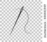 needle with thread. dark gray... | Shutterstock .eps vector #444441949