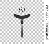 sausage on fork sign. dark gray ...