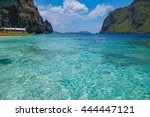 scenic view of sea bay  blue... | Shutterstock . vector #444447121