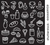 set of food icons outline... | Shutterstock .eps vector #444449959