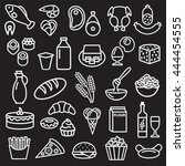 set of food icons outline... | Shutterstock . vector #444454555