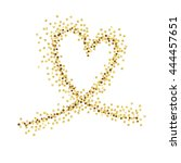 gold wave in the shape of heart ... | Shutterstock .eps vector #444457651