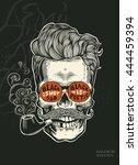 skull. hipster skull silhouette ... | Shutterstock .eps vector #444459394