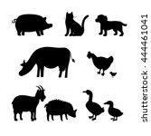 farm animals vector silhouettes ... | Shutterstock .eps vector #444461041