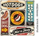 hot dog vintage signs... | Shutterstock .eps vector #444463864