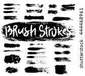 grunge brush strokes set. black ... | Shutterstock .eps vector #444468961