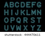 glowing cyan blue neon alphabet ... | Shutterstock .eps vector #444470611