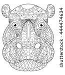 hippopotamus head coloring book ... | Shutterstock . vector #444474634