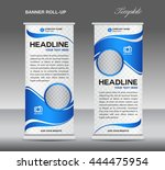 blue and white roll up banner... | Shutterstock .eps vector #444475954