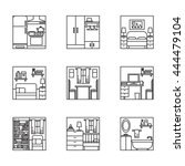 blsck and white home interior... | Shutterstock .eps vector #444479104