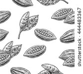 seamless pattern with leaves... | Shutterstock .eps vector #444483367