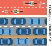 bike lane and car traffic. top... | Shutterstock .eps vector #444489661